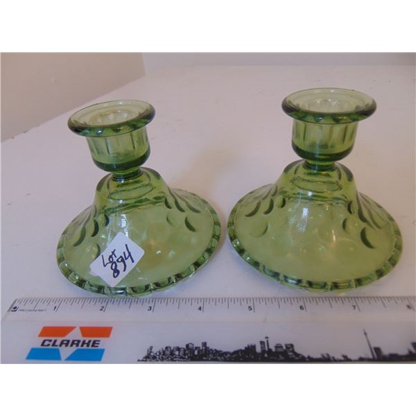 894 REVERSE HOBNAIL PATTERN PRESSED GLASS CANDLE HOLDERS