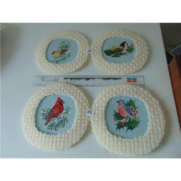 898 FOUR BIRD CROSS STICH FRAMED ARTWORK