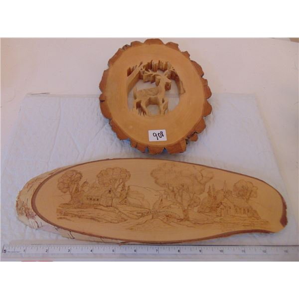 908 TWO HAND CARVED WOODEN ARTWORKS