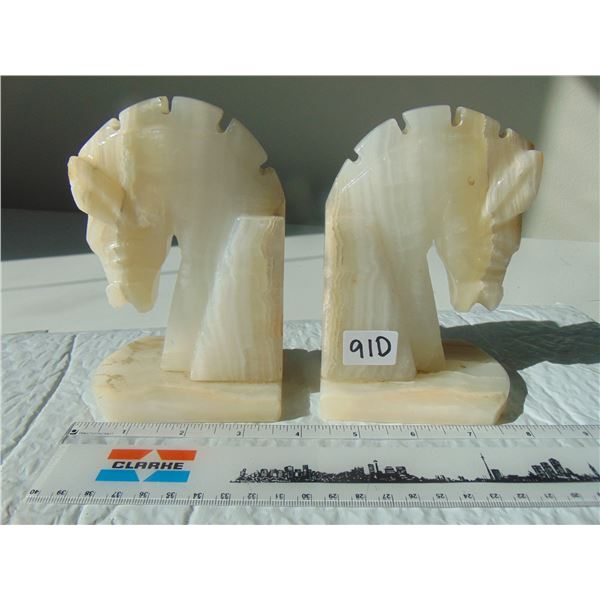 910 ONYX MARBLE HORSE HEAD BOOKENDS