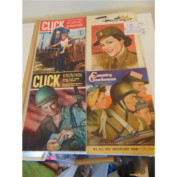 915 VINTAGE WARTIME MAGAZINES GREAT ADS