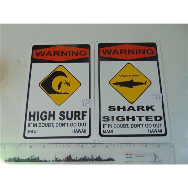 917 TWO VINTAGE HAWAIIAN METAL SIGNS