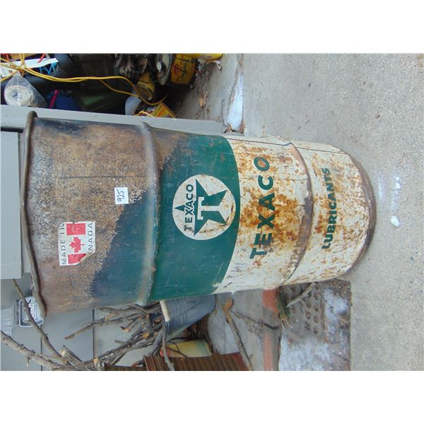 925 120 POUND TEXACO LUBRICANT DRUM GARBAGE CAN