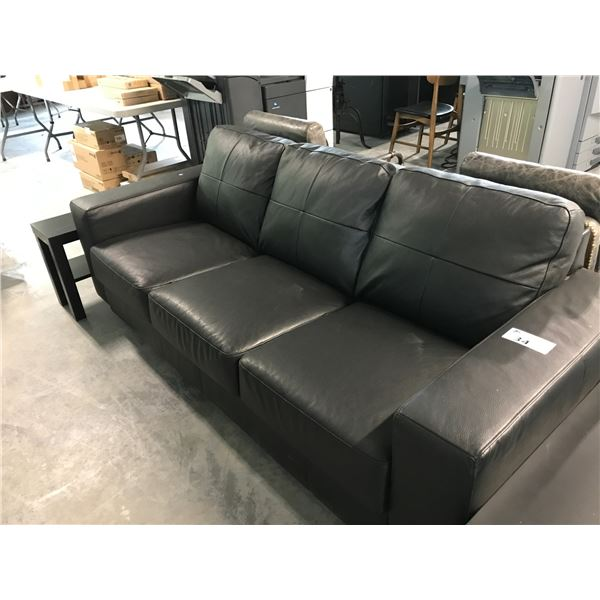 BLACK 3 SEAT SOFA AND 2 LOW ACCENT TABLES