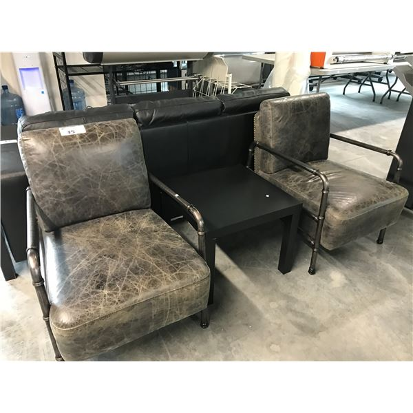 2 GREY METAL FRAME LOUNGE CHAIRS WITH A BLACK END TABLE