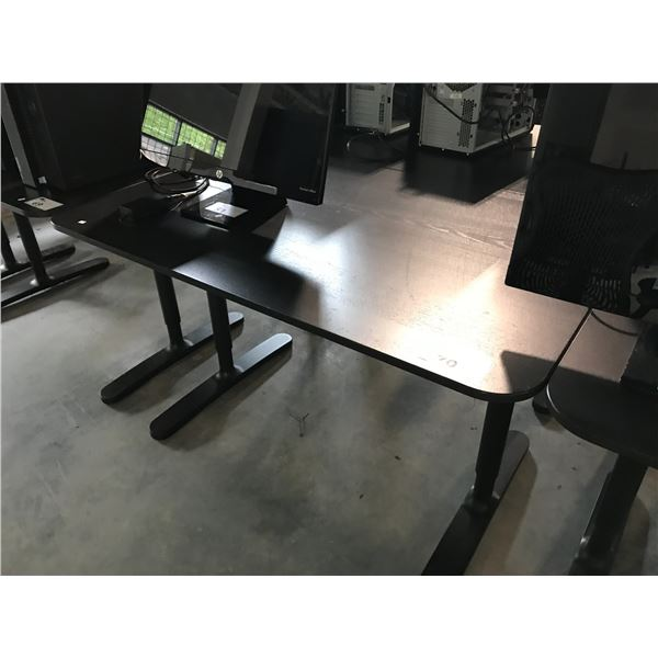 BLACK 4 X 2.5' ADJUSTABLE HEIGHT COMPUTER TABLE