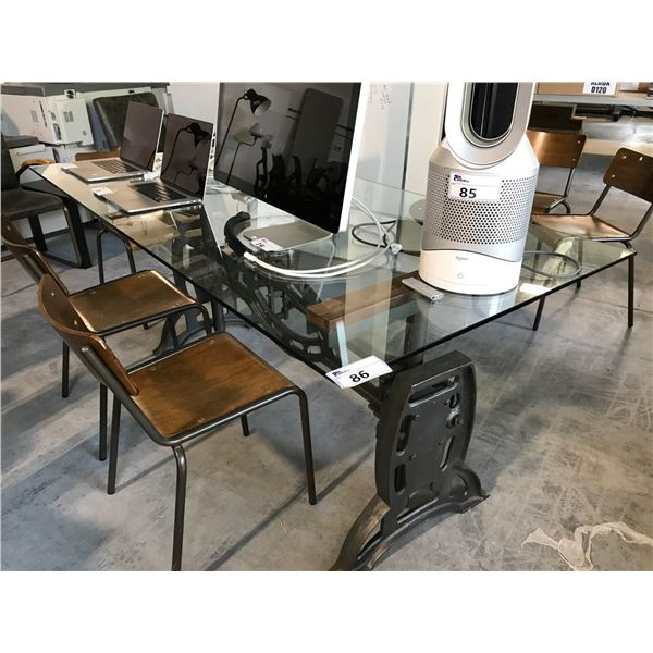 "80 X 39"" INDUSTRIAL STYLE ADJUSTABLE HEIGHT METAL AND GLASS CONFERENCE TABLE"