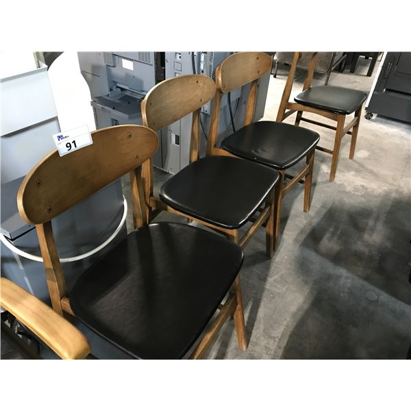 LOT OF 4 WALNUT AND BLACK BENTWOOD SIDE CHAIRS