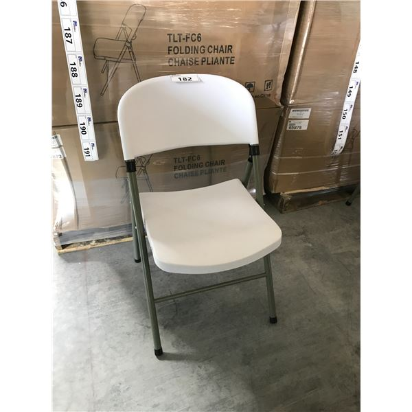 6 WHITE PLASTIC FOLDING CHAIRS
