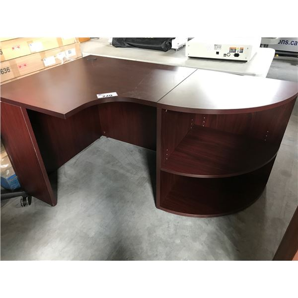 MAHOGANY 3' X 5' CORNER COMPUTER DESK WITH SOME COSMETIC DAMAGE