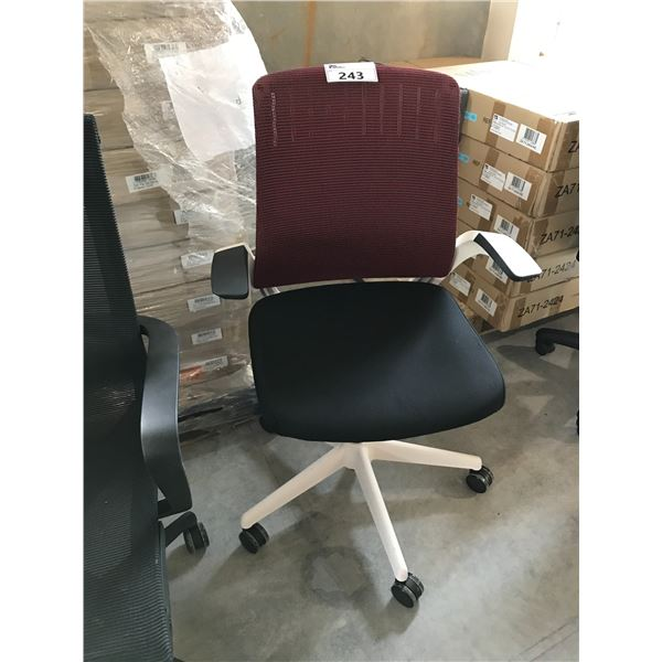 RED AND BLACK MESH BACK TILTER CHAIR
