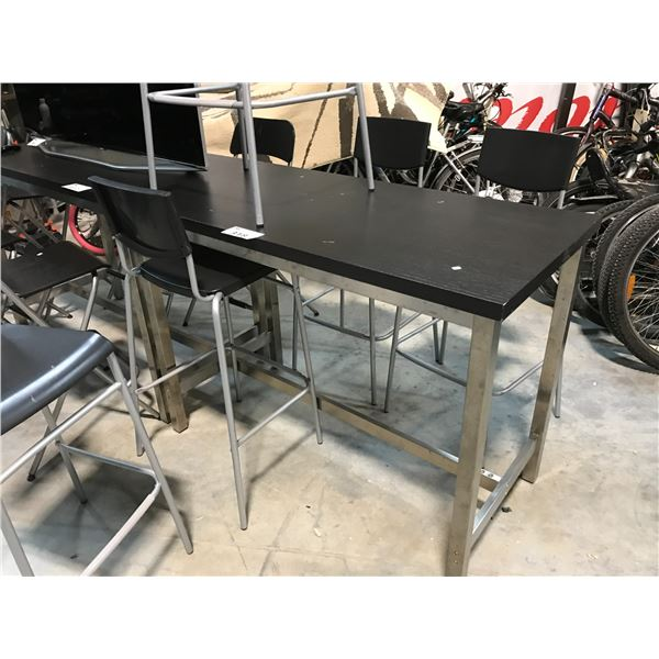 DARKWOOD 4' BAR HEIGHT TABLE COMES WITH 5 BLACK BARSTOOLS