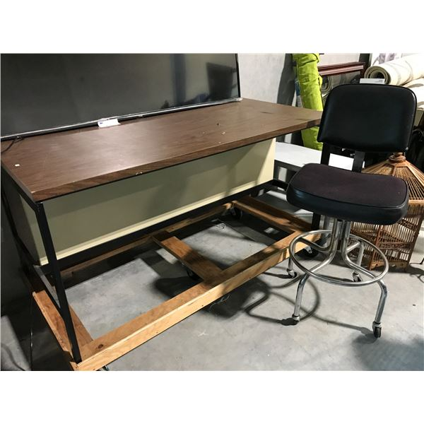 HEAVY DUTY MOBILE 5' BENCH AND DRAFTING CHAIR