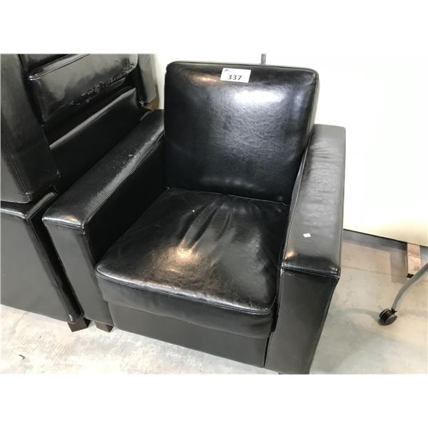 4 DARK BROWN LOUNGE CHAIRS - CONDITION ISSUES, PLEASE PREVIEW