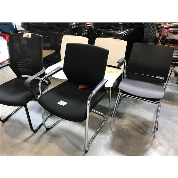 6 MISC CLIENT AND STACKING CHAIRS