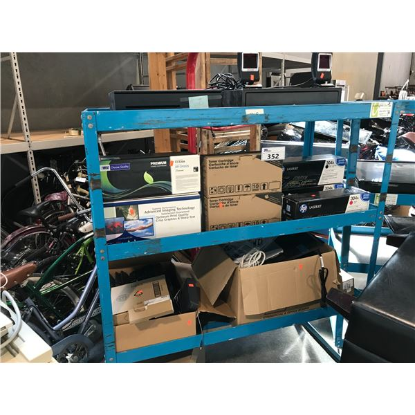 LOT OF MISC. ELECTRONICS, PARTS AND MISC. TONER, RACK NOT INCLUDED
