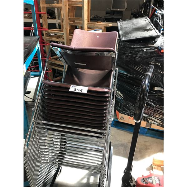 10 BURGUNDY STACKING CHAIRS WITH CHAIR DOLLY
