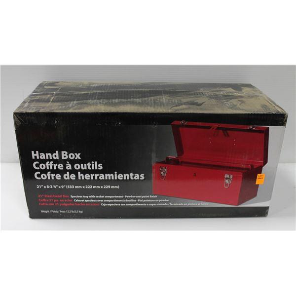 "NEW 21"" STEEL HAND BOX"