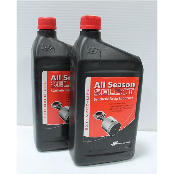LOT OF 2 ALL SEASON SELECT SYNTHETIC RECIP LUBRICANT 1 LITRE BOTTLES