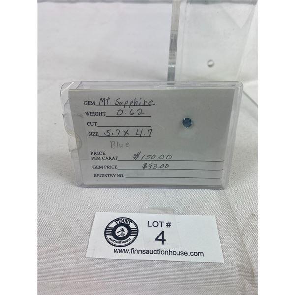 Loose Blue Saphire Gemstone On Card