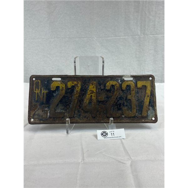 1925 Ontario License Plate