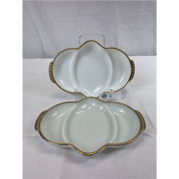2 EUC Vintage Fire King Milk Glass Gold Trim Divided Dishes