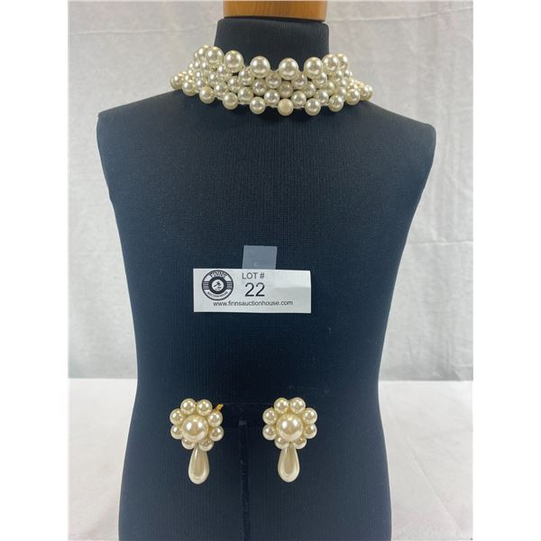 Stunning Faux Pearl Stretch Choker/Collar Necklace Plus Clip On Earrings