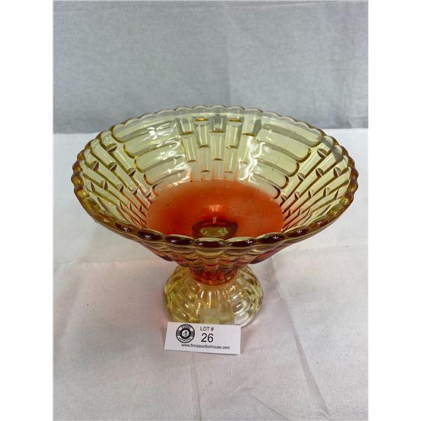 "Vintage 50's Amberina Flash Glass Centre Piece Bowl, 9"" Diameter"