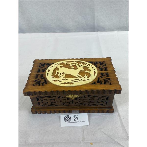 "Pierced Hand Carved Wood Box, 9""x5""x4"""