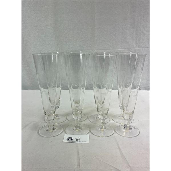 8 Mid Century Engraved/Etched Pilsner Beer Crystal Glasses