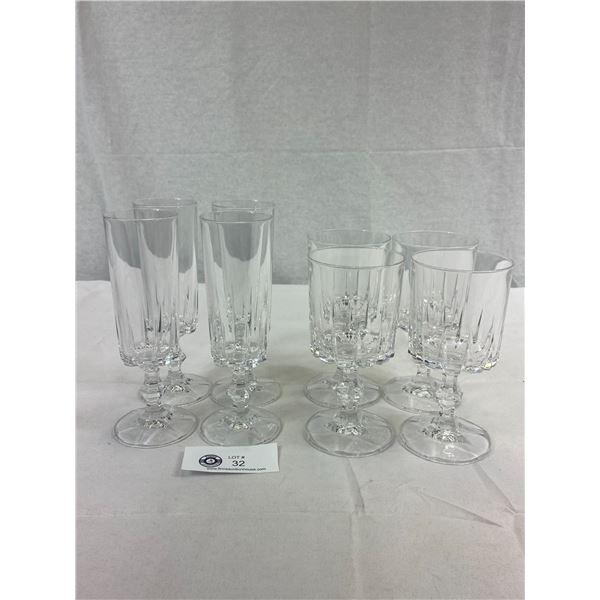 8 Vintage Crystal Glasses, 4 Wine, 4 Fluted Champagne Or Wine