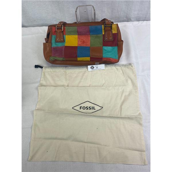 Vintage Good Quality Fossil Leather Patchwork Shoulder Bag With Fossil Dust Bag