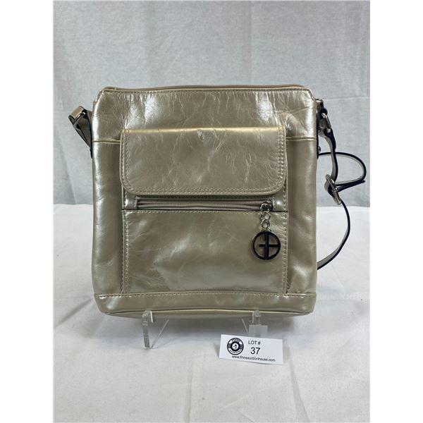 EUC Giani Bernini Beige Metallic Leather Crossbody Handbag