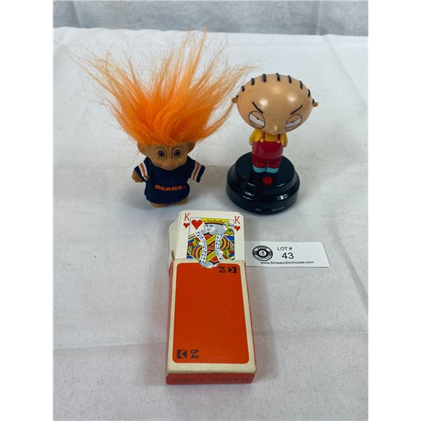 2006 Talking Stewie, Working, Plus Vintage Troll Plus CP Air Playing Cards, Not Used