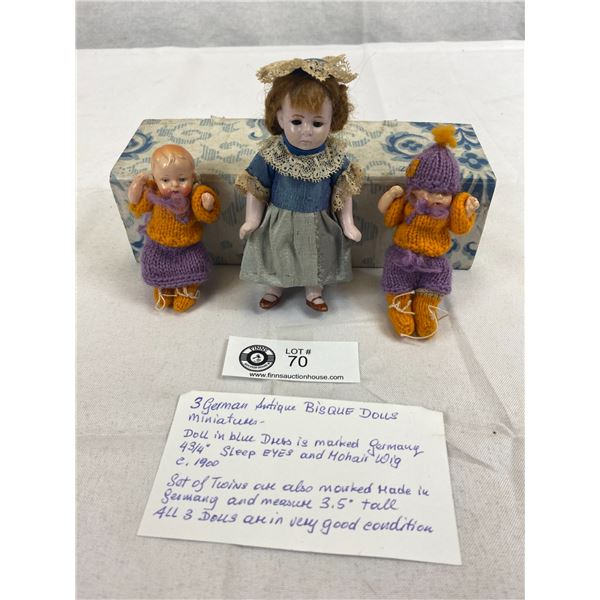 3 German Antique Miniature Bisque Dolls All In Very Good Condition