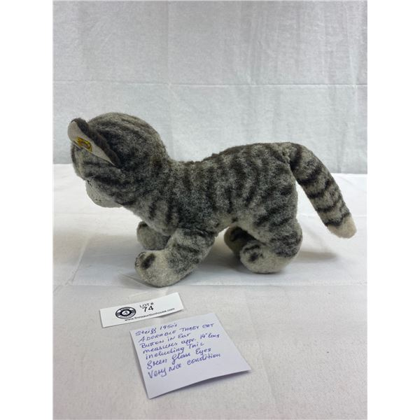 "1950 Stieff Adorable Tabby Cat, Button In The Ear, Approx. 14""L, Glass Eyes, Very Good Condition"