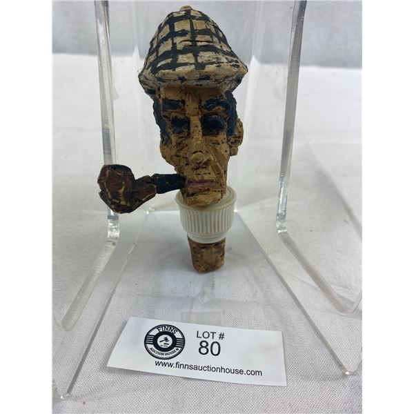 "Vintage Carved Cork Sherlock Holmes Bottle Stopper, 5""T"