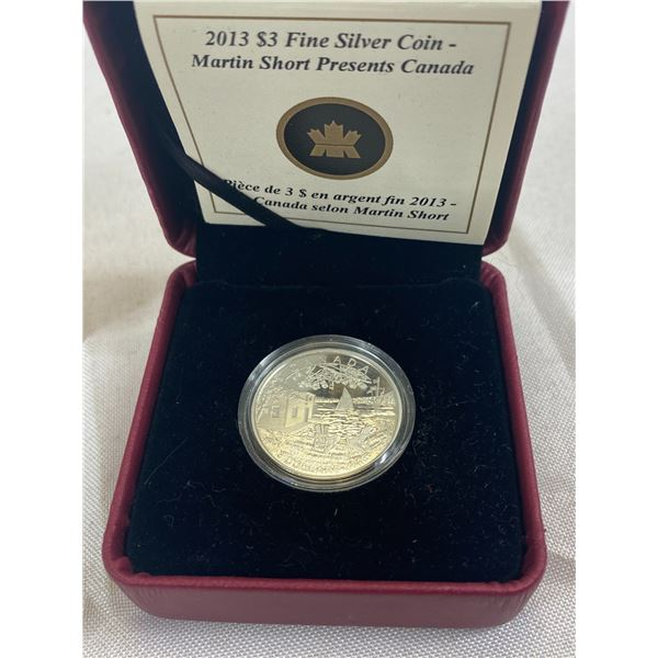 2013 $3 Fine Silver Coin, Martin Short Presents Canada In Original Box And Case