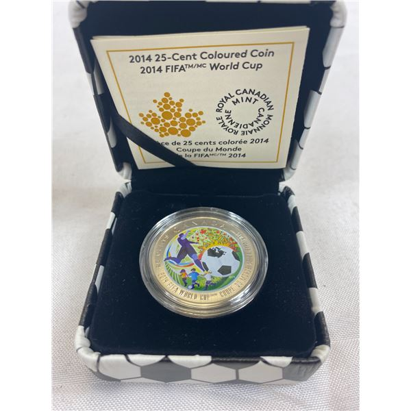 2014 25C Coloured Coin Fifa World Cup In Original Box And Case