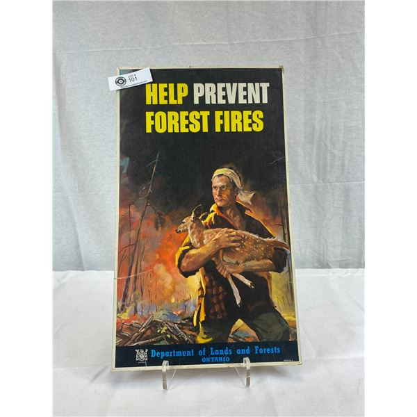 "Very Nice Vintage 11""X19"" Ontario Help 'Prevent Forest Fires' Poster"