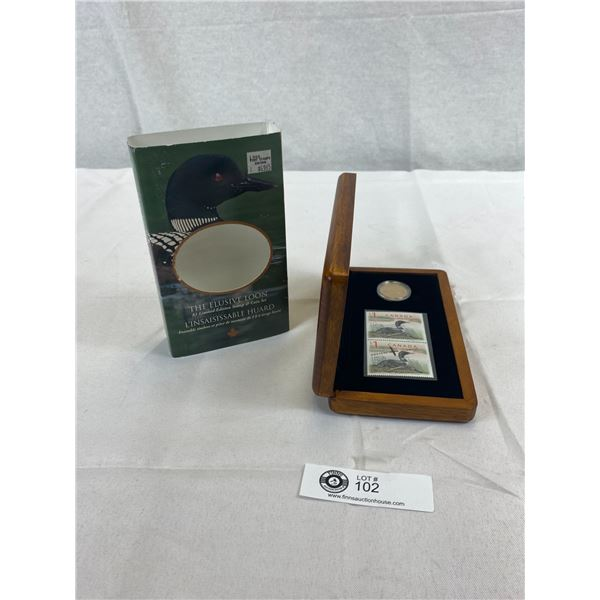 The Elusive Loon $1 Limited Edition Stamp And Coin Set In Original Wood Box And Sleeve