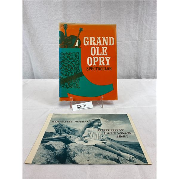 1967 Country Music Birthday Calendar Plus The Grand Ol' Opery Spectacular Book