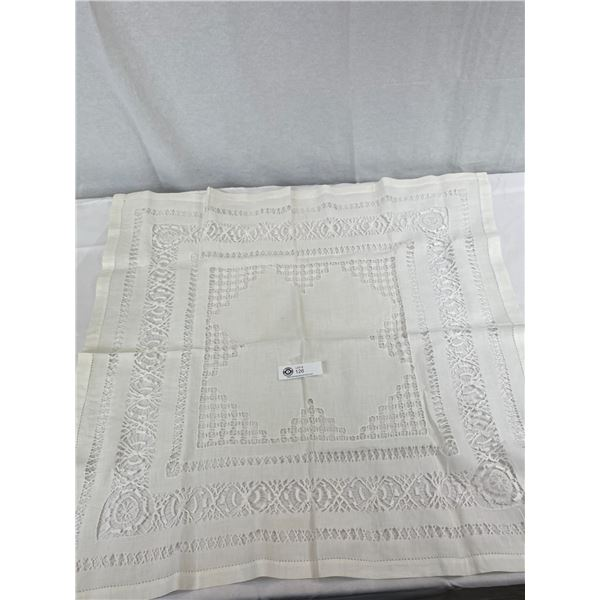 """Antique Draw Thread With Weave Embroidery Tablecloth In Very Nice Condition, 44""""x43"""""""