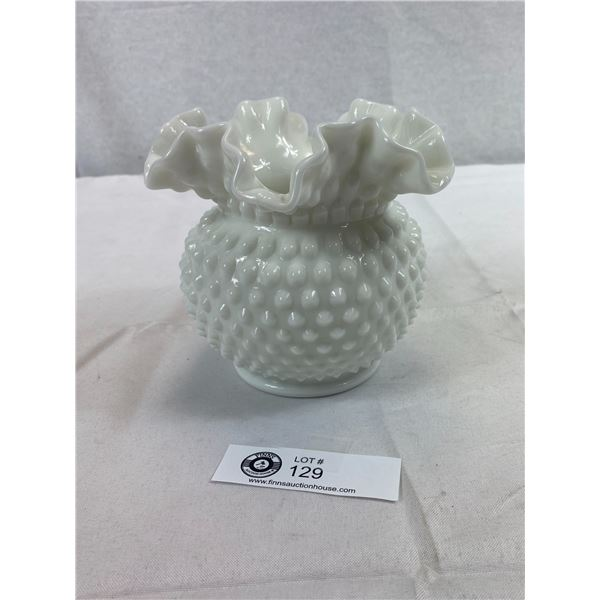 "Vintage Fenton Hobnail Milk Glass Vase With Ruffled Edges, 5.5"" t"