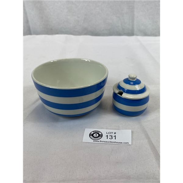 Vintage Cornish Ware 2 Iconic Stripey Blue And White Dishes