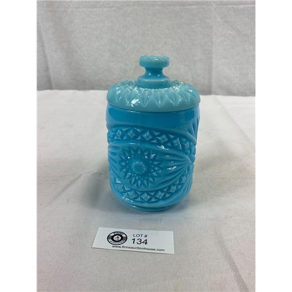 Vintage Imperial Blue Satin Milk Glass Jar With Lid