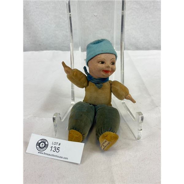 """Nora Welling's Dutch Boy Doll With Label, 8"""" T Cloth Doll, Very Good Condition, 1940's"""