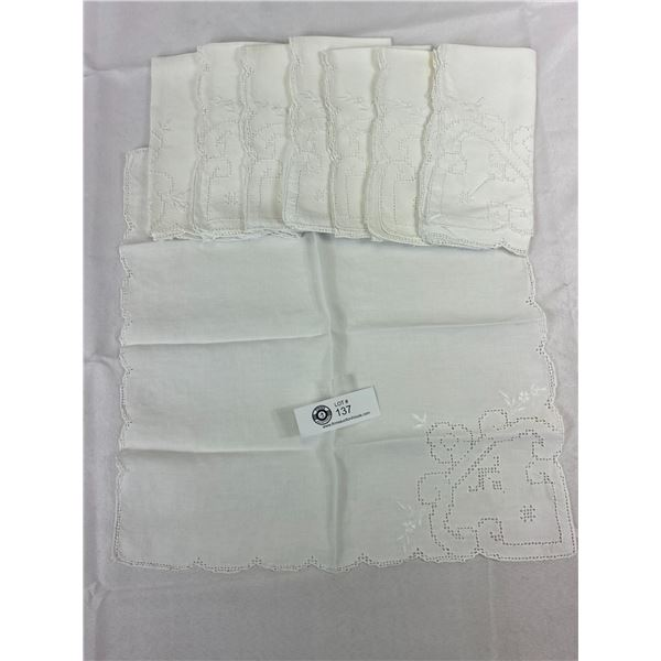 """8 Antique Linen With Open Cut Embroidery, Very Good Quality, 16""""x14.5"""""""