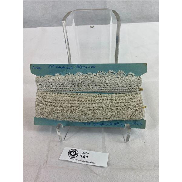 2 Antique Vintage Hand Made Fine Cotton Lace