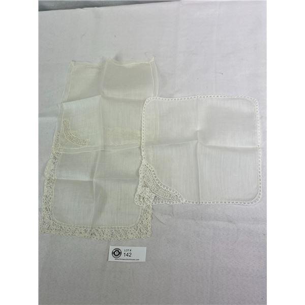 3 Antique Belgium Lace Handkerchiefs Exquisite Workmanship And In Great Condition